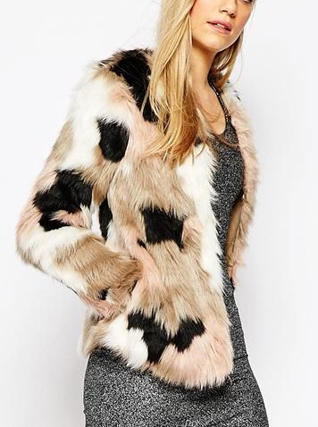 Vero Moda Patchwork Faux Fur Coat
