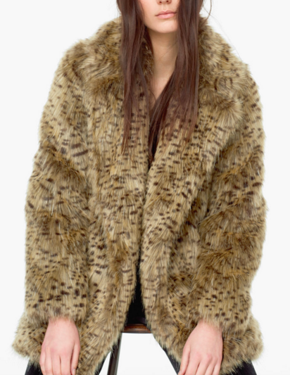 CLub Monaco leopard faux fur coat