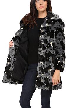 Betsey Johnson flower faux fur coat