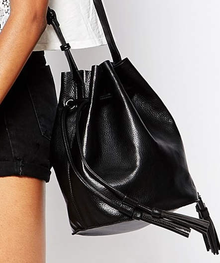 Street Level Bucket Bag with Drawstring Detail & Detachable Pouch