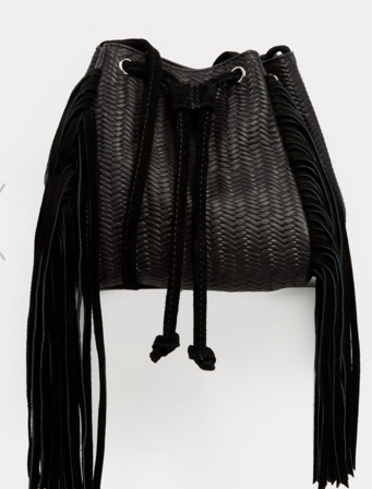 ASOS Woven Fringed Leather Duffle Bag