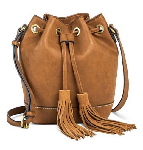 Target bucket bag with tassels