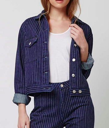 Topshop pinstripe denim jacket
