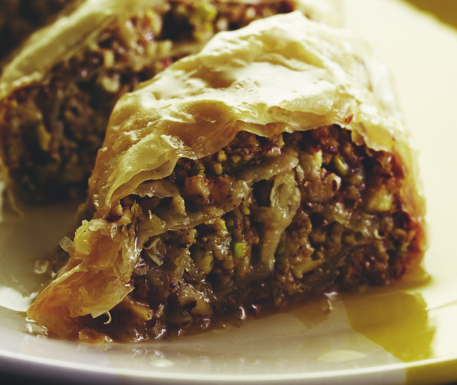 """Halvah Baklavah - this sticky, sweet, delicious Middle Eastern pastry made with phyllo sheets, crushed nuts, and a honeyed syrup is straight out of Susie Fishbein's cookbook, """"Kosher by Design Brings it Home."""" 