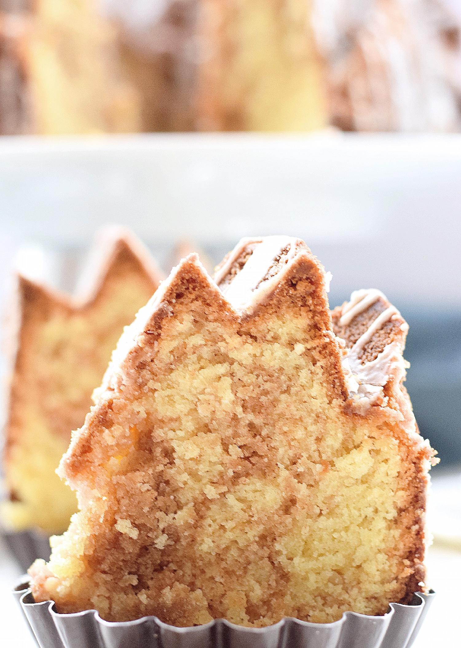 Cinnamon Swirl Bundt Cake: one bowl, moist, tender vanilla Bundt cake with cinnamon swirls. Quick, easy and completely non-dairy! | TrufflesandTrends.com