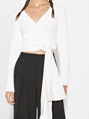The fifth label crop white shirt