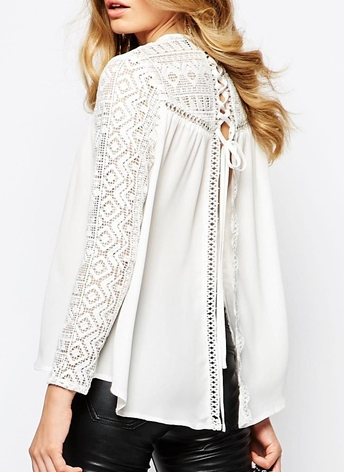 Goldie Fiona Lace Insert Blouse With Lace up Back Detail