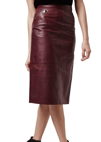 Topshop red leather midi skirt