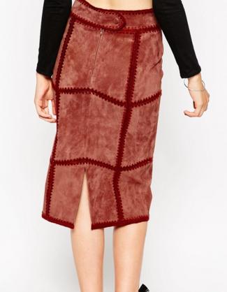 Asos suede patchwork skirt