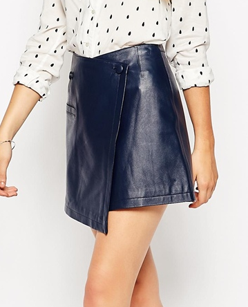 Asos leather wrap mini skirt