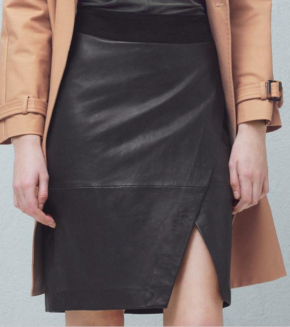 mango leather wrap skirt