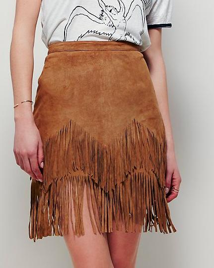 Free People suede fringe skirt