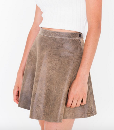 American Apparel distressed leather skirt