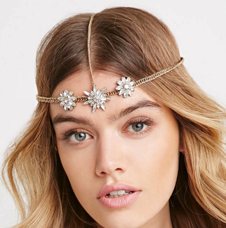Forever 21 rhinestone floral hairpiece