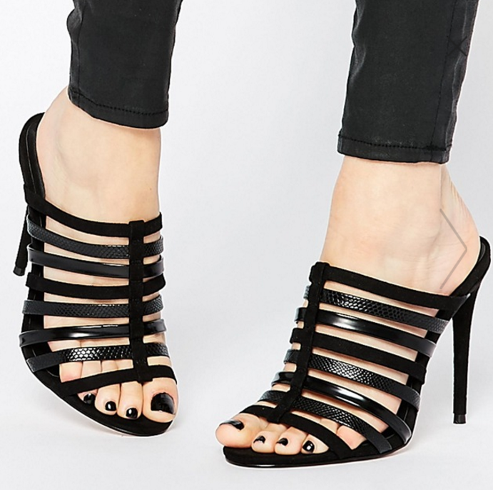ASOS HAVANA Wide Fit Caged Mules