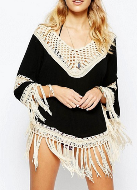 Surf Gypsy Crochet Hem Fringe Top