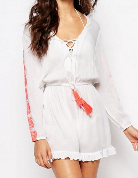 Akasa Embriodered Lace Up Romper