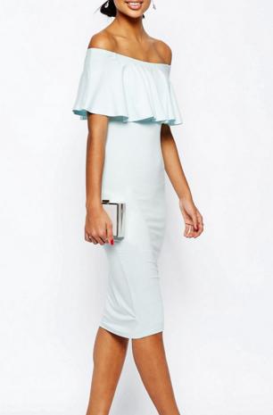 ASOS Ruffle Off Shoulder Bardot Pencil Midi Dress