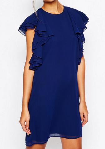 Asos ruffled shoulder dress