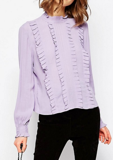 ASOS Ruffle Detail Vintage Blouse With High Neck