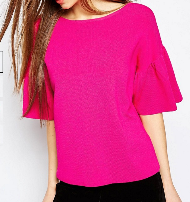 ASOS Sweater in Structured Yarn with Ruffle Sleeve