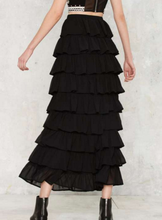 Ruffle and tumble maxi skirt