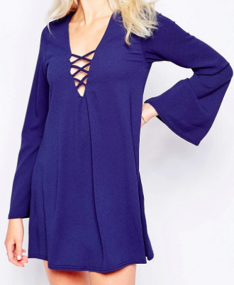 Motel Swing Dress With Lace Up & Flare Sleeves