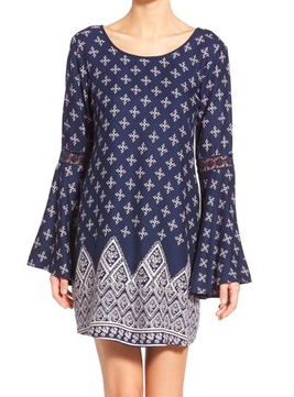 Band of Gypsies Bandana Print Bell Sleeve Dress