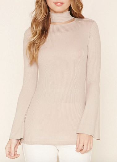 Forever 21 Cutout Mock Neck Top