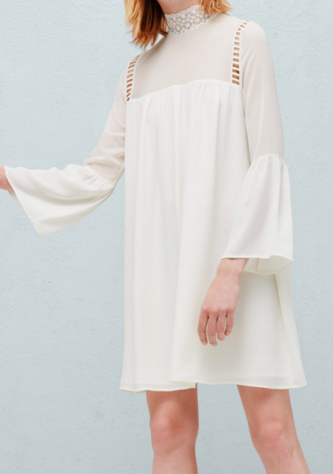 MANGO CREAM FLARED SLEEVES DRESS