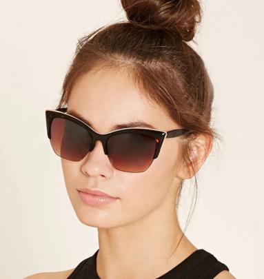Forever 21 metal trim cat eye sunglasses