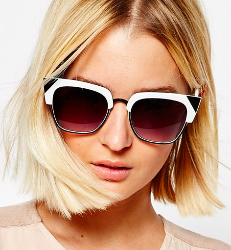 ASOS Cat Eye Sunglasses in Mono With Metal Corner detail