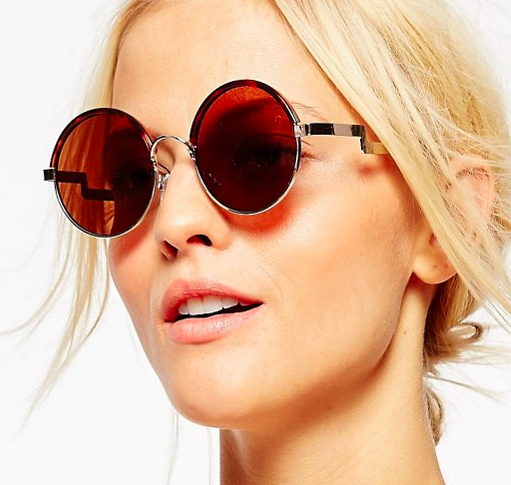 ASOS Metal And Tort Mix Round Sunglasses With Flat Lens And Zig Metal Arm