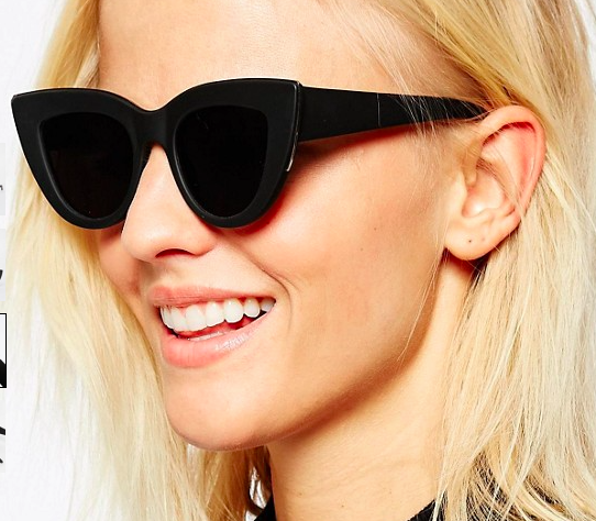 ASOS Flat Top Cat Eye Sunglasses With Metal Sandwich And Flat Lens