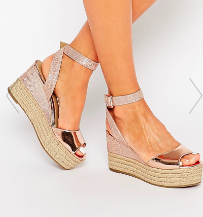 Head Over Heels By Dune Kalmia Rose Gold Wedge Espadrille Sandals
