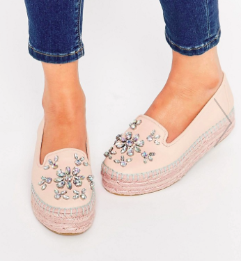 Carvela Lolly Nude Leather Embellished Espadrille Flatform Shoes