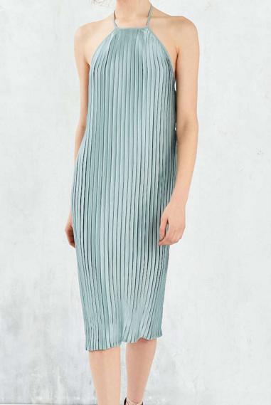 Silence + Noise Pleated Column Midi Dress