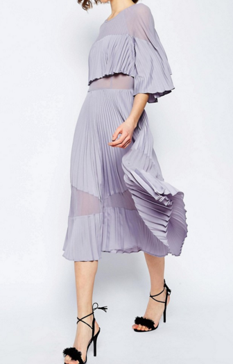 ASOS Pleated Sheer And Solid Crop Top Midi Dress
