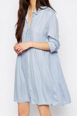 Vila Pleated Swing Shirt Dress