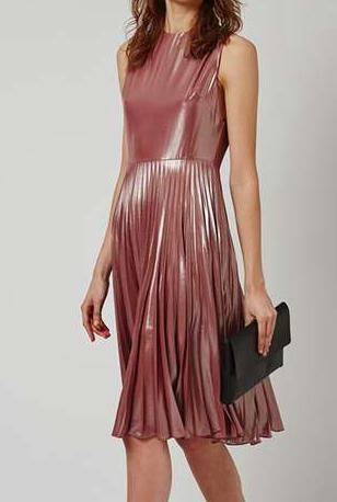 TOPSHOP PETITE Metallic Lamé Pleated Midi Dress