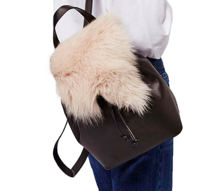 Topshop Shearling & Leather Backpack