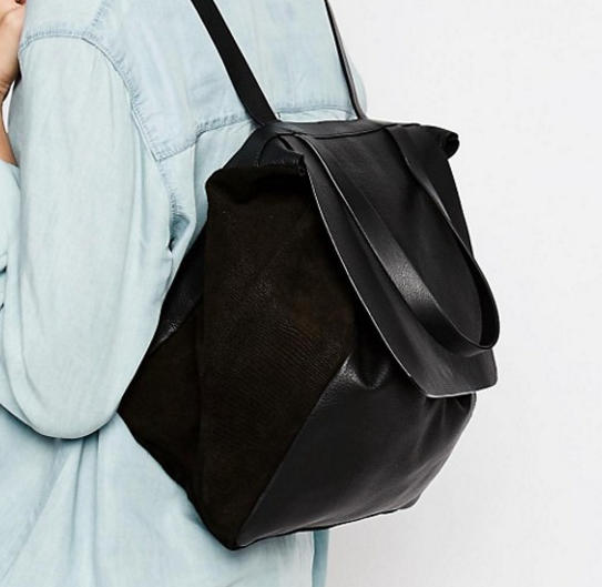 Warehouse Leather Panelled Backpack