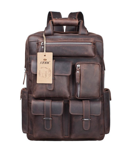 S-ZONE Vintage Crazy Horse Genuine Leather Backpack