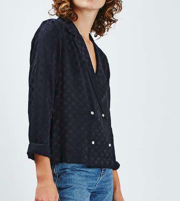 Topshop Double Breasted Pyjama Style Shirt