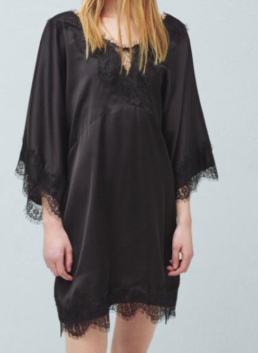 Mango lace trim dress