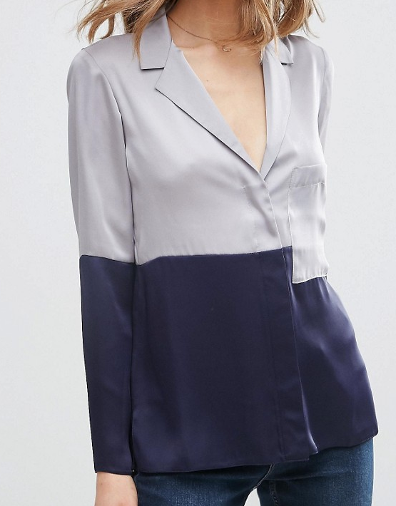 ASOS Color Block Satin Pajama Blouse