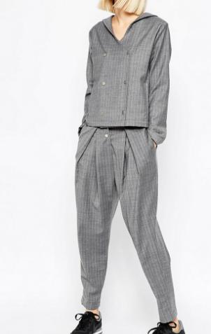 ASOS WHITE Awkward Length Pants in Pinstripe