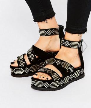 Kat Maconie Celeste Black & Gold Detail Flatform Sandals