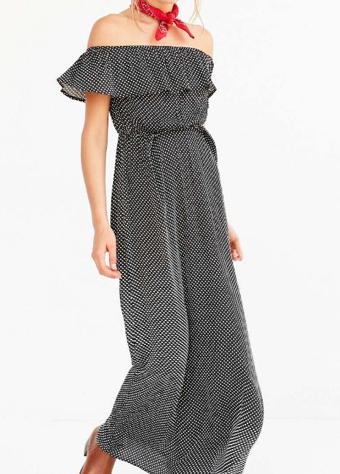 Cooperative Polka Dot Off-The-Shoulder Maxi Dress