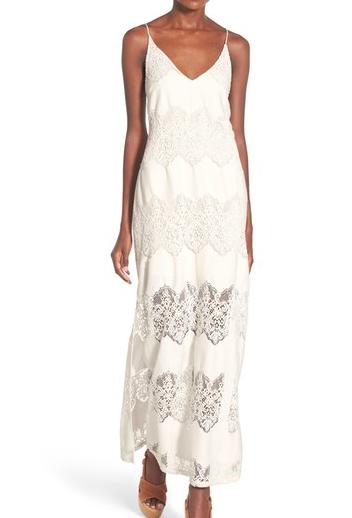 ASTR Tassel Tie Lace Maxi Dress